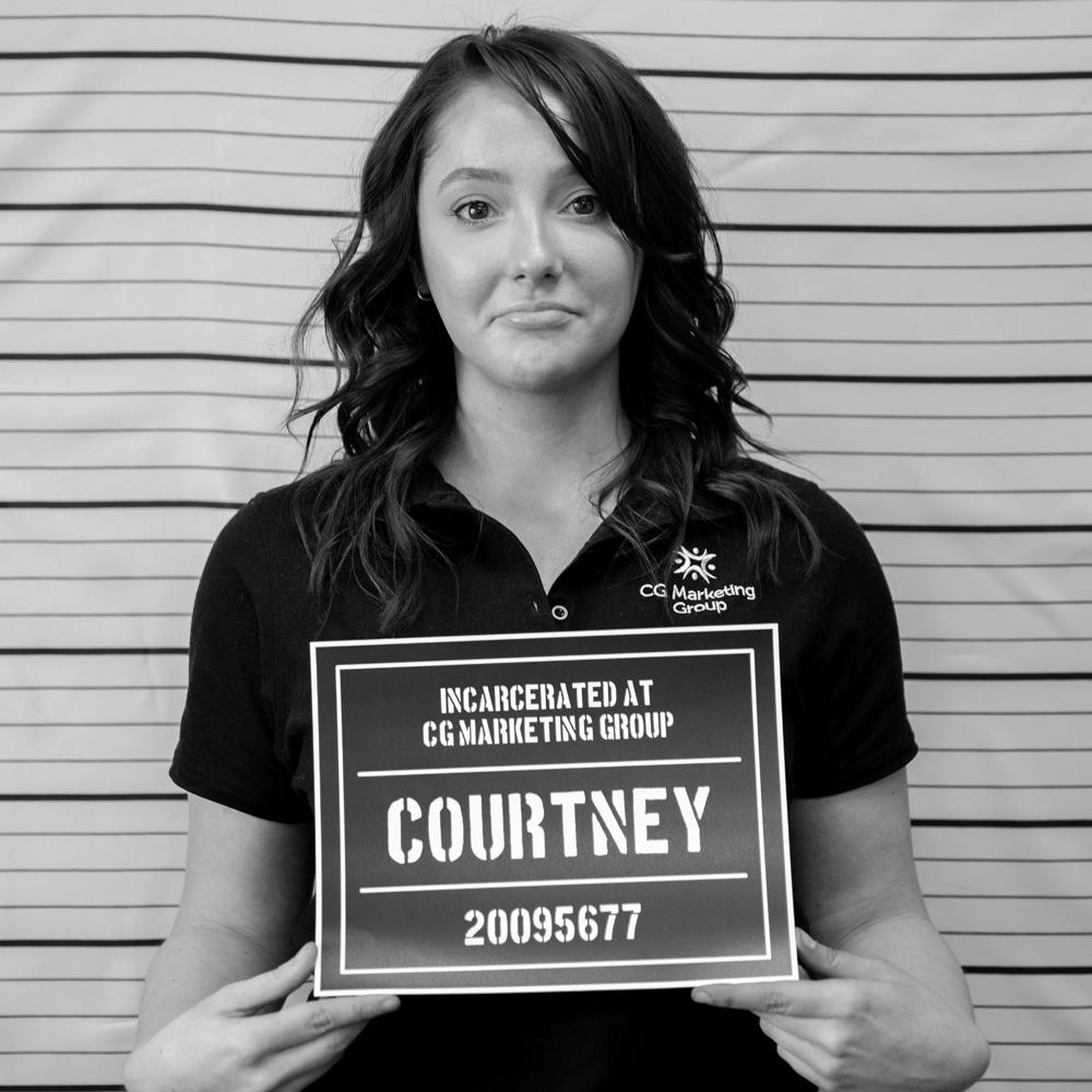 Fake mugshot of employee - Courtney