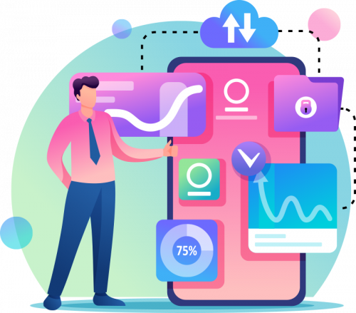 Pay Per Click Icon Man Standing in front of phone with charts and statistics