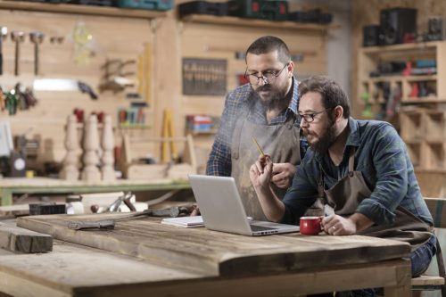 Two men looking at laptop discussing business